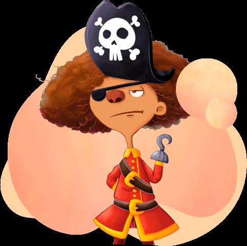 Lalá vestida de pirata e com mão de gancho